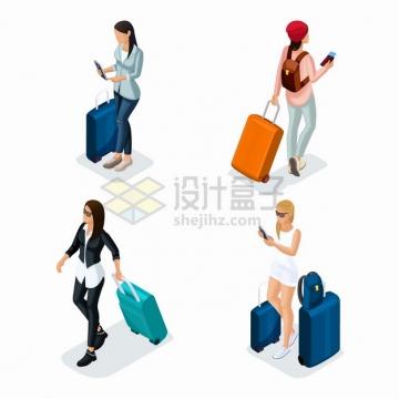 4款拖着行李箱旅行箱的美女扁平插画png图片素材