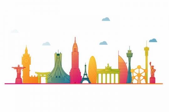 彩色手绘风格世界知名景点建筑png图片免抠矢量素材