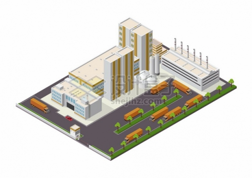 2.5D风格工厂巨大的厂房建筑仓库和运输卡车png图片素材