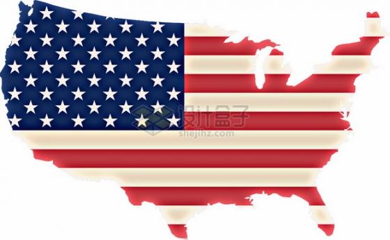 印有星条旗国旗图案的美国地图6525853png图片素材