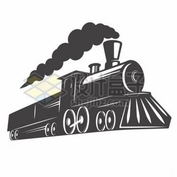 冒烟的蒸汽火车黑白插画597304png图片素材