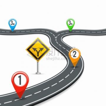 弯曲的公路有不同的岔路口道路png图片素材
