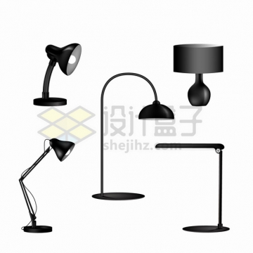 5款黑色的LED节能台灯床头灯png图片素材