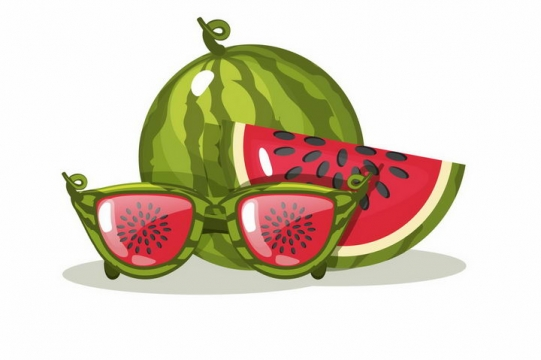 水晶风格西瓜水果png图片免抠矢量素材