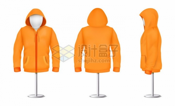 服装店人体模型和橙色连帽衫三视图png图片素材