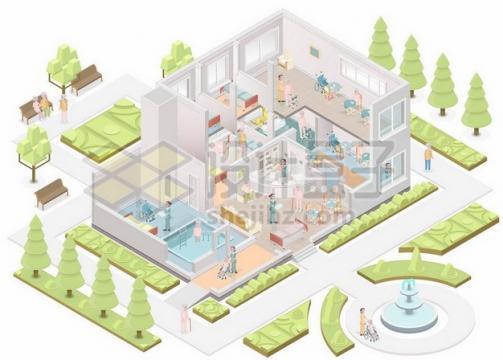 养老院敬老院大楼建筑解剖图465372矢量图片免抠素材