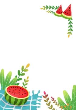 彩绘风格西瓜绿叶装饰夏天边框图片免抠素材
