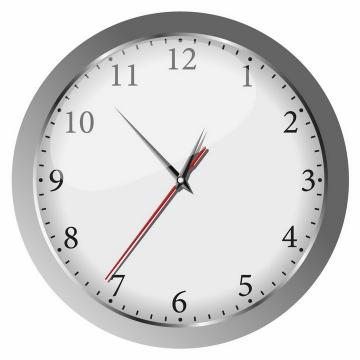 银灰色边框的圆形时钟和时针分针秒针png图片免抠矢量素材