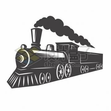 冒烟的蒸汽火车黑白插画814705png图片素材