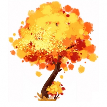 秋天金黄色树叶的大树水彩插画972730png图片免抠素材