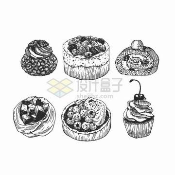 6款手绘风格蛋糕美食png图片免抠矢量素材