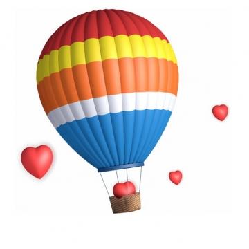 彩色条纹热气球和心形红心图案283700png图片素材