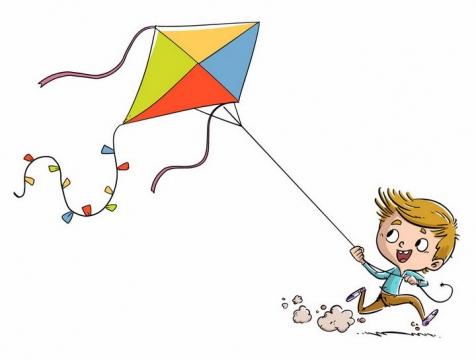 可爱拉着风筝奔跑的卡通小男孩png图片免抠eps矢量素材