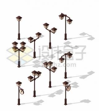 各种复古的路灯装饰881564图片免抠矢量素材