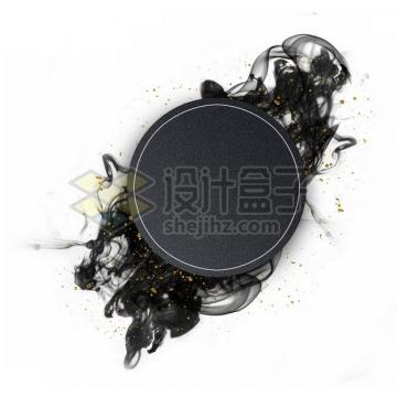 墨水烟雾水墨装饰的黑色圆形边框文本框标题框信息框660217psd/png图片素材