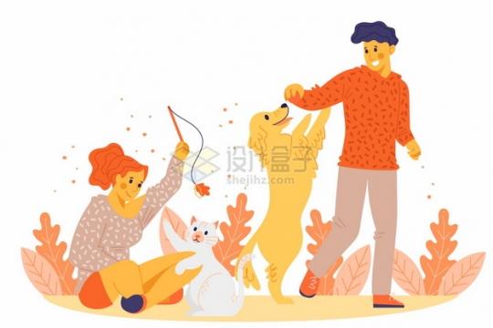 逗猫遛狗和狗狗猫咪玩耍扁平插画png图片素材