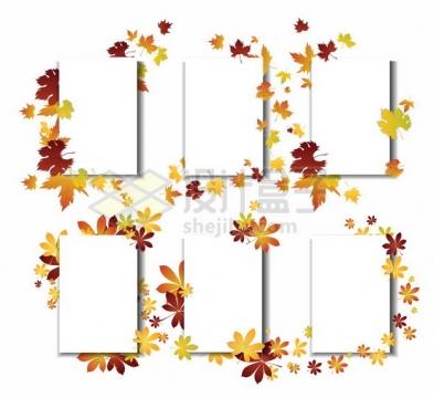6款秋天枫叶装饰的文本框方框626927png矢量图片素材