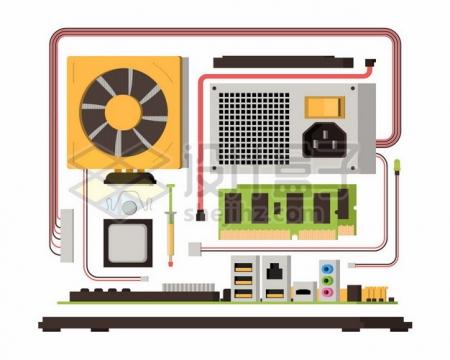 扁平化风格电脑主板散热器电源CPU导热硅脂内存卡等673442图片免抠矢量素材