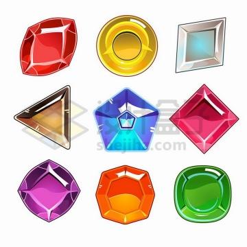 9款彩色各种形状的游戏宝石png图片免抠矢量素材