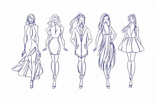 5款好身材大长腿的蓝色素描风格时尚女郎png图片免抠矢量素材