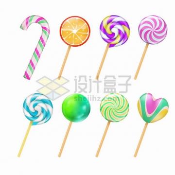 8款彩虹棒棒糖美味糖果零食png图片素材