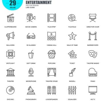 手绘线条风格各类电影娱乐类icon图标图片免抠素材合集
