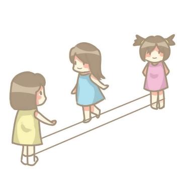 手绘卡通风格正在玩跳橡皮筋的女孩儿童游戏童年回忆图片免抠素材