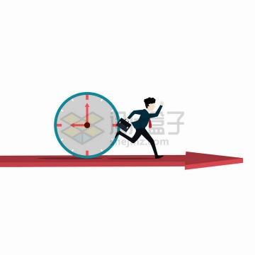 卡通商务人士在红色箭头上奔跑后面有时钟png图片免抠矢量素材