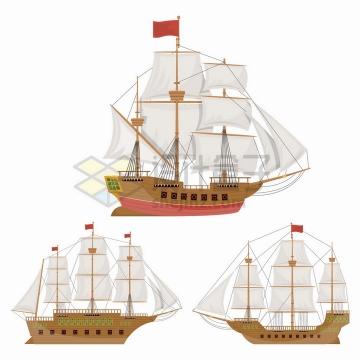 三款西方的复古帆船木制船舶png图片免抠矢量素材