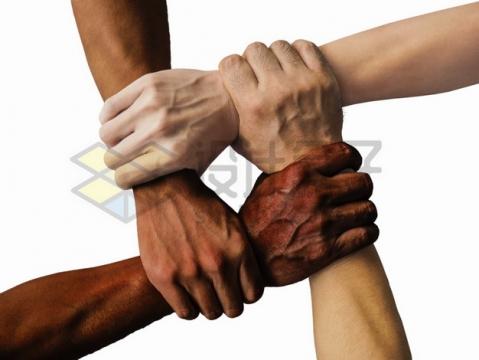 四只手握手在一起象征了团结合作png图片素材
