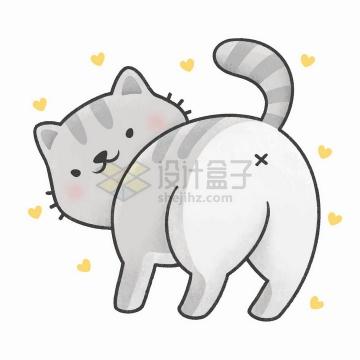 把屁股对着你的卡通猫咪png图片免抠矢量素材