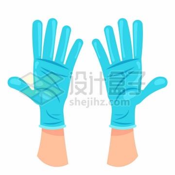 卡通风格蓝色橡胶医用手套png图片免抠矢量素材