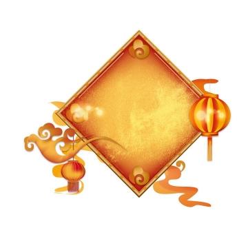 带有祥云灯笼装饰的中国传统新年春节正方形文本框背景框图片免抠矢量素材