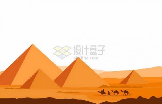 黄色沙漠中的埃及金字塔和骆驼队剪影png图片免抠矢量素材