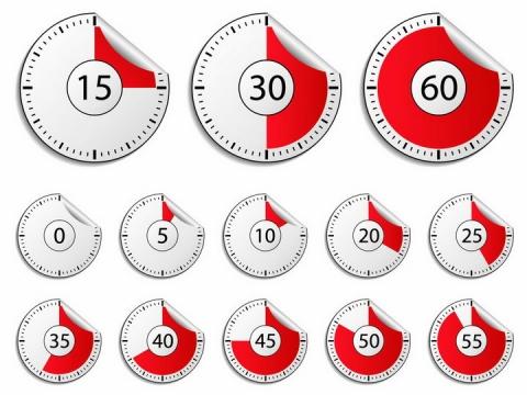 红色一分钟倒计时秒表贴纸表盘png图片免抠矢量素材