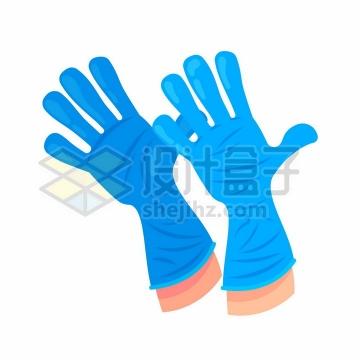卡通风格蓝色乳胶医用手套png图片免抠矢量素材