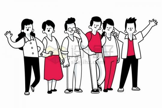 一群在一起的年轻人手绘插画png图片免抠矢量素材