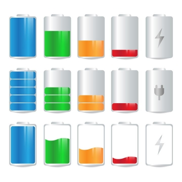 3款写实风格的电池图标图片免抠矢量图素材