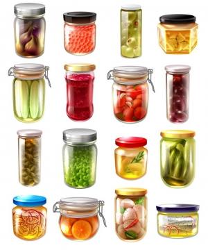 16款玻璃瓶中的腌制蔬菜美食图片免抠素材
