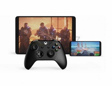 用游戏手柄玩平板电脑和手机上的游戏png图片素材
