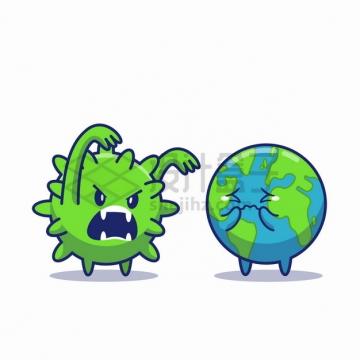 卡通新型冠状病毒恐吓可怜兮兮的地球png图片素材