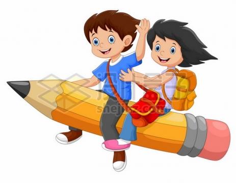 两个卡通小朋友坐在铅笔上飞行儿童节插画410990图片免抠矢量素材