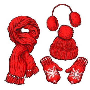 红色围巾针织帽子手套耳罩等冬天御寒衣物图片免抠矢量图素材