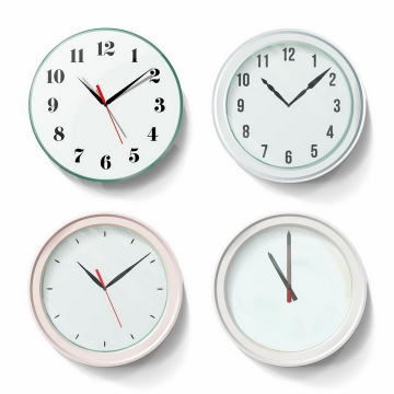4款淡绿色的时钟png图片免抠矢量素材