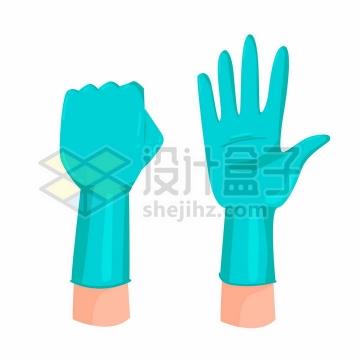 卡通风格蓝色丁腈手套医用手套png图片免抠矢量素材