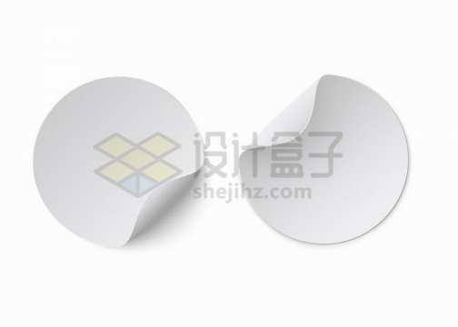 两款掀开一角的空白圆形标签贴纸png图片免抠矢量素材