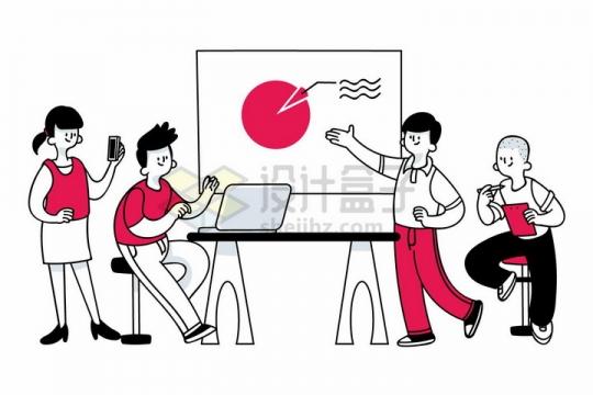 正在讨论公司业务数据的商务人士手绘插画png图片免抠矢量素材