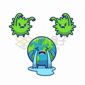 卡通新型冠状病毒吓得地球哇哇大哭png图片素材
