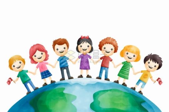 手牵手站在地球上的卡通儿童保护地球世界环境日彩绘插画png图片素材