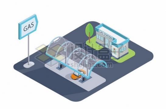 2.5D风格新能源汽车加气站充电站378642图片免抠矢量素材